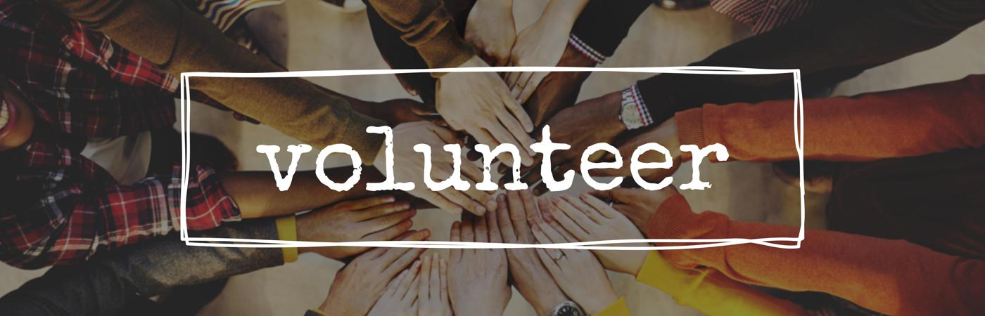 Banner image with the word volunteer